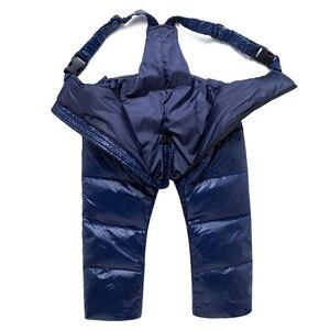 Image 5 -  30 traje de invierno para la nieve, conjunto de ropa para niños, chaqueta impermeable de plumón de pato blanco para bebés, abrigo para niñas y pantalones con babero, Parka para niños