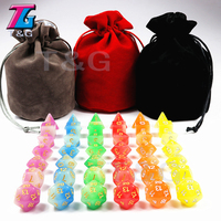 New Arrived 42pc/lot High Quality Mix Colour Glow In The Dark,Dice for D&D D4,6,8,10,10%,12,20 Set RPG Board Game