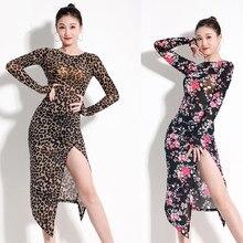 Леопардовые раздельные платья для латинских танцев для женщин, платье для танго, сексуальное латинское платье для танцев, Одежда для танцев, платье с принтом, экзотическая Одежда для танцев