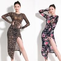 leopard split latin dance dresses for women tango dress sexy latin dress dance clothes for dancing dress print exotic dancewear