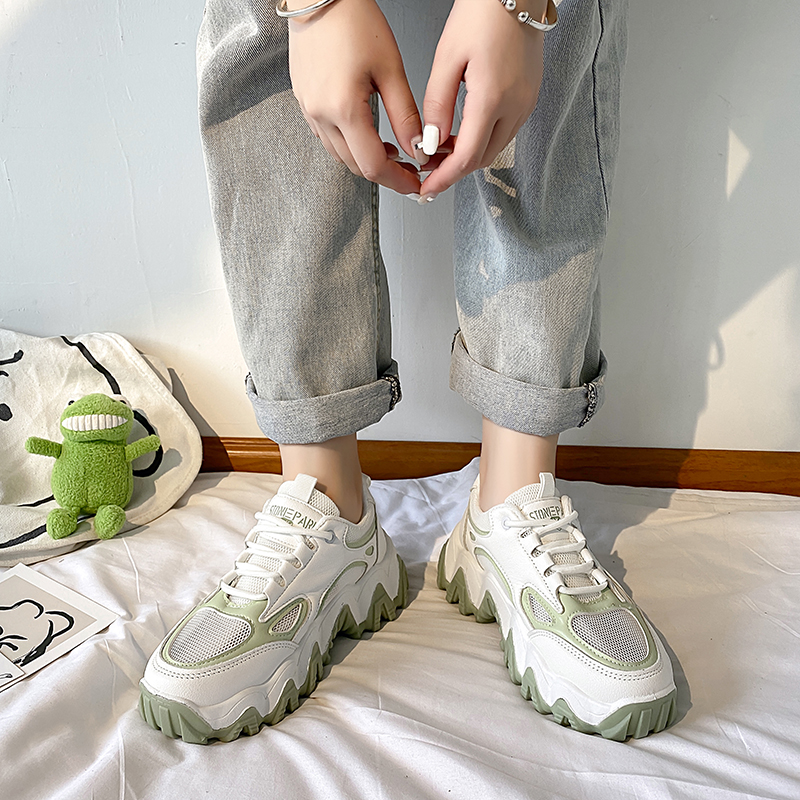 2020 summer new wave bottom daddy shoes female breathable mesh tide shoes wild thick bottom sports casual shoes X100