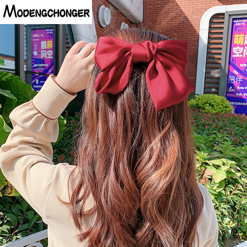 New Ribbon Hairgrips Large Bow Chiffon Hairpin For Women Girls Satin Trendy Lady Hair Clip Hair Ropes Barrettes Hair Accessories