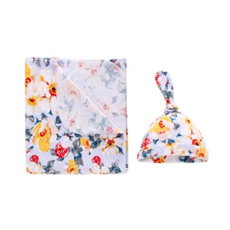 Newborn Baby Cart Blanket Hat Set Cotton Printing Infant Swaddling Wrap Cap U50F