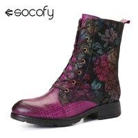 SOCOFY rétro peinture Texture coloré abstraite modèle fermeture éclair femmes bottes en cuir chaussures femmes chaussures Botas Mujer 2020
