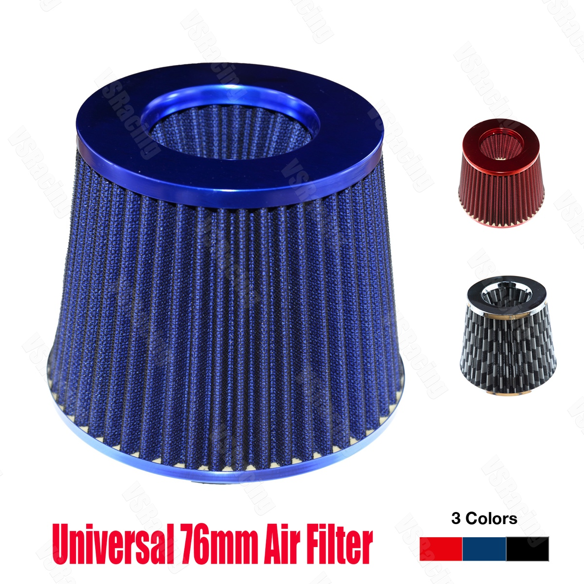 """3/"""" Inlet Short Ram Cold Air Intake Filter Round//Cone Universal BLACK For BMW 1"""