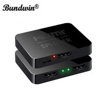 Bundwin HDMI ספליטר 1*2 מתוך 1080p 4K 1x2 HDCP חשפנית 3D כוח אות מגבר אודיו וידאו מפיץ עבור מקרנים