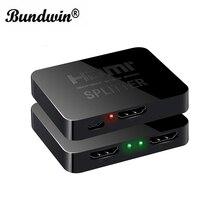 Bundwin separador HDMI 1*2 out 1080p 4K 1x2 HDCP, 3D amplificador de señal de potencia, distribuidor de Audio y vídeo para proyectores