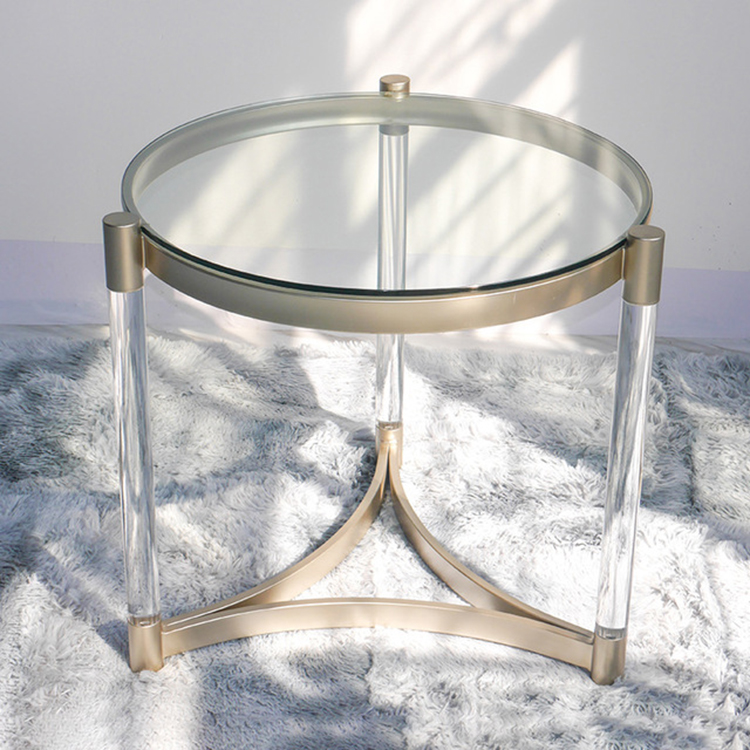 Creative Luxury Glass Table Small Round Coffee Table Living Room Mirror Side Table Tempered Glass Iron Acrylic Frame 60x45cm Cafe Tables Aliexpress