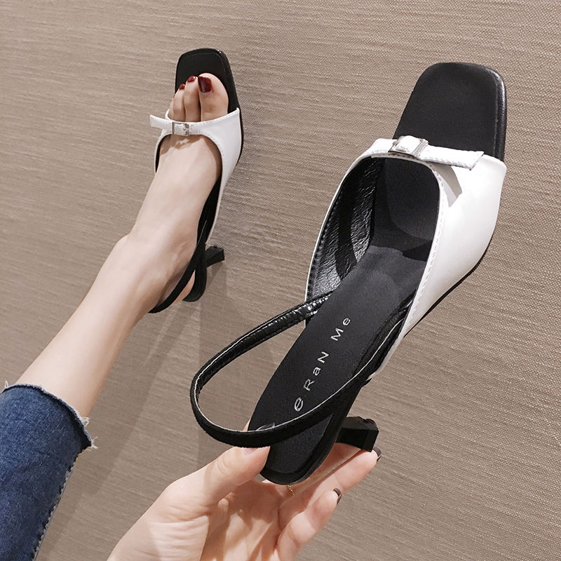 SLHJC Women Sandals Summer Buckle High Heel French Shoes Fashion Stylish Leather Sandals Lady Pumps Shoes 6 Cm