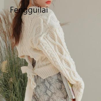 FENGGUILAI 2020 New Lace-up Design Knitted Sweater Women Sexy Backless Twist Sweater Pullover  Long Sleeve Jumper Spring Tops eyelet lace up staggered jumper