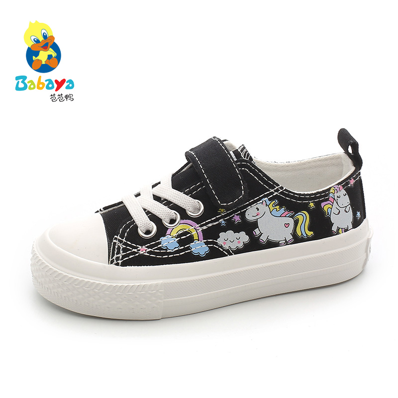 Babaya Children Canvas Shoes Girls Shoes White Fashion Kids Sneakers For Girl Cartoon Breathable 2020 Spring New Princess Shoes