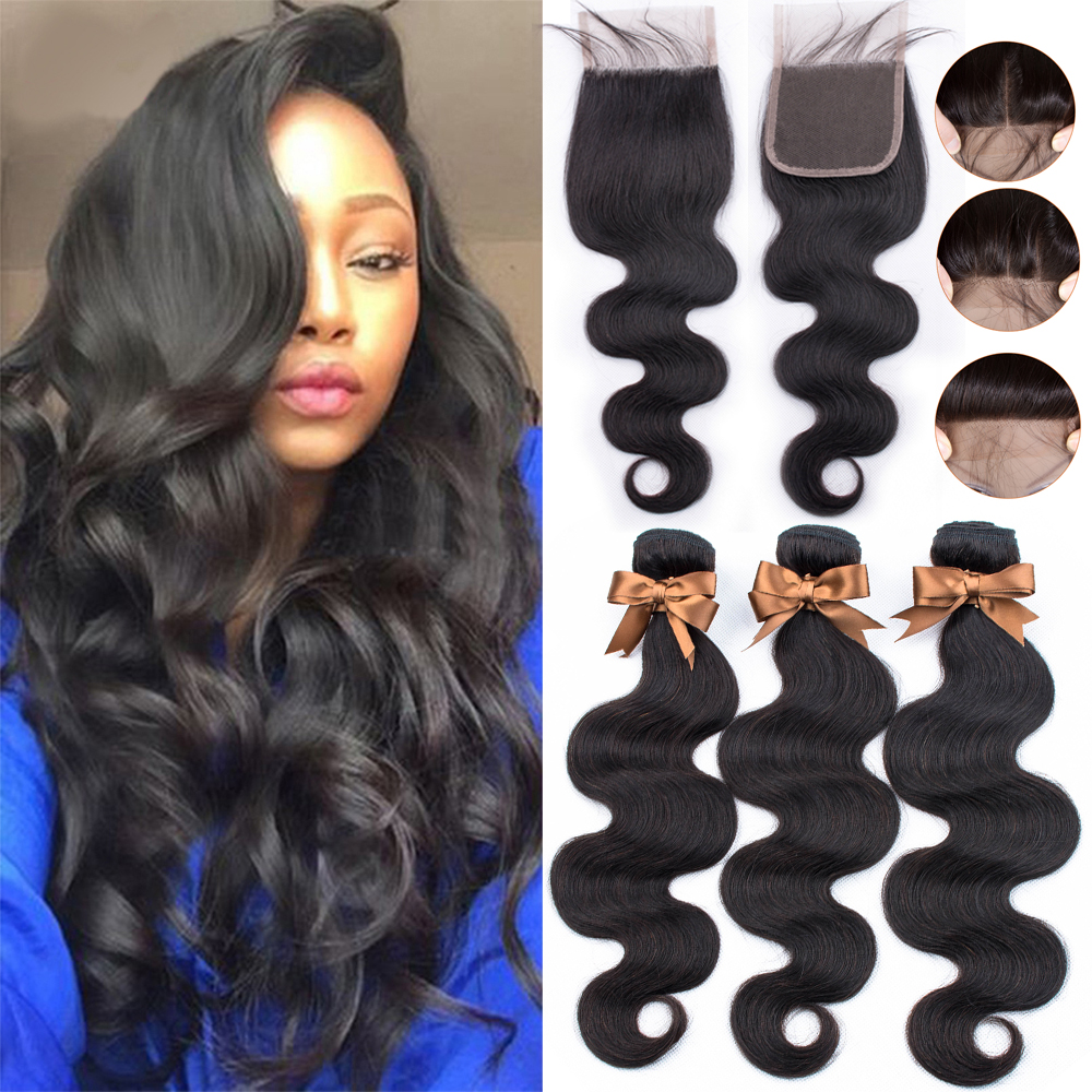 BEAUDIVA Brazilian Hair Bundles With Closure Body Wave Bundles With Closure Human Hair Extension 3 Bundles With Lace Closure