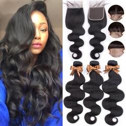 BEAUDIVA-extensions de cheveux brésiliens, avec Lace Closure, Body Wave, lot de 3