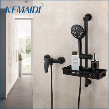 KEMAIDI Matte Black Round Wall Mounted Bathroom Rainfall Shower Faucet Set HeadShower Shower Set Black Tap Mixer Sets