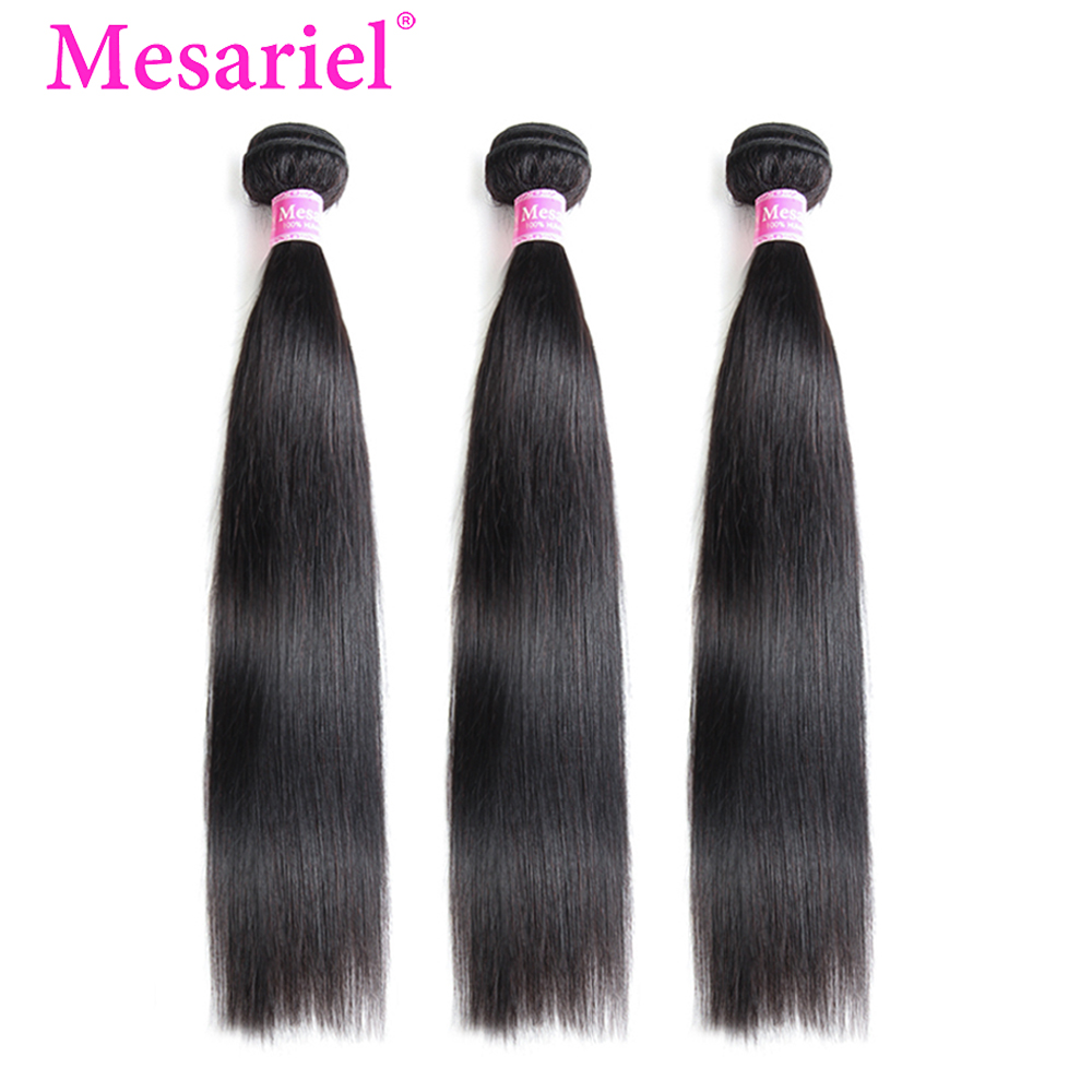 Mesariel Peruvian Straight Hair Bundles Natural Color 100% Human Hair Weave Bundles 8-30 Inch Remy Hair Extension 3/4 Bundle M
