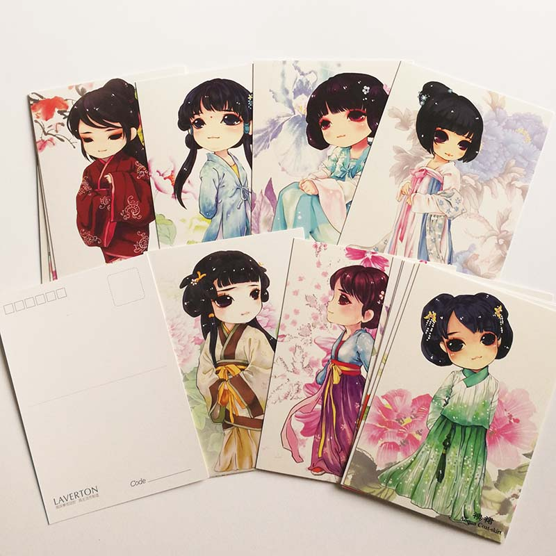 16Pcs/box Kawaii /Cute Hand Painted Chinese Traditional Clothing Postcards Classical Style Postcards Gift For Girls