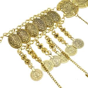 Image 5 - India Sexy Metal dorado flor hueca moneda Cadena de cuerpo con flecos baile Bikini de arnés Bra Belly Belt Waist Chain joyería egipcia