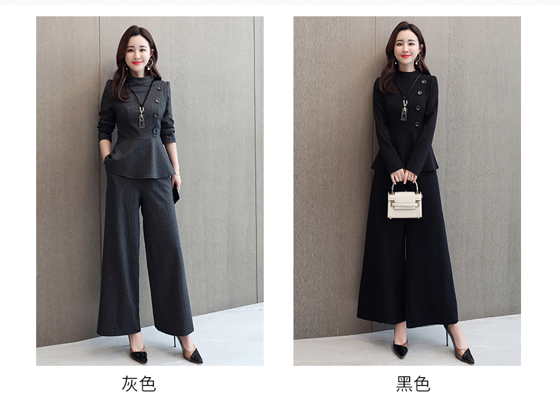 Black Grey Office Two Piece Sets Outfits Women Plus Size Buttons Tops And Wide Leg Pants Suits Elegant Fashion Ladies Suits 2019 41