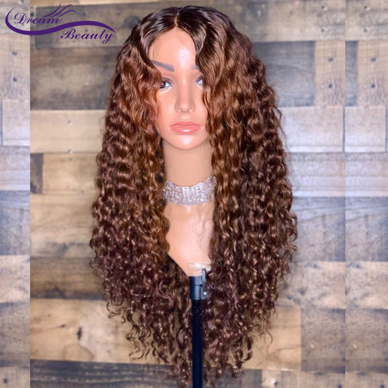 13x6 Ombre Color Blonde Lace Front Wig Brazilian Curly Remy Ombre Human Hair Wigs Pre Plucked Bleached Knots Dream Beauty(China)