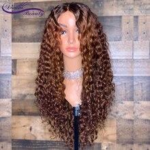 13x6 Ombre צבע בלונד תחרת חזית פאה ברזילאי מתולתל רמי Ombre שיער טבעי פאות מראש קטף מולבן קשרים חלום יופי