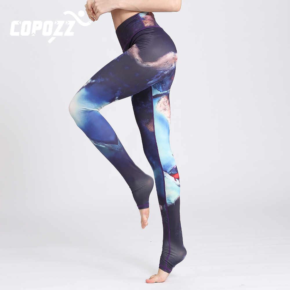 Copozz ginásio mulheres calças de fitness yoga magro cintura alta esporte leggings padrão elástico impresso longas collants para correr controle de barriga