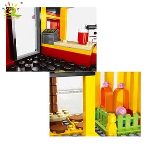 Image 4 - Huiqibao 274Pcs Fast Food Hamburger Winkel Street View Model Bouwstenen Stad Architectuur Bricks Kinderspeelgoed
