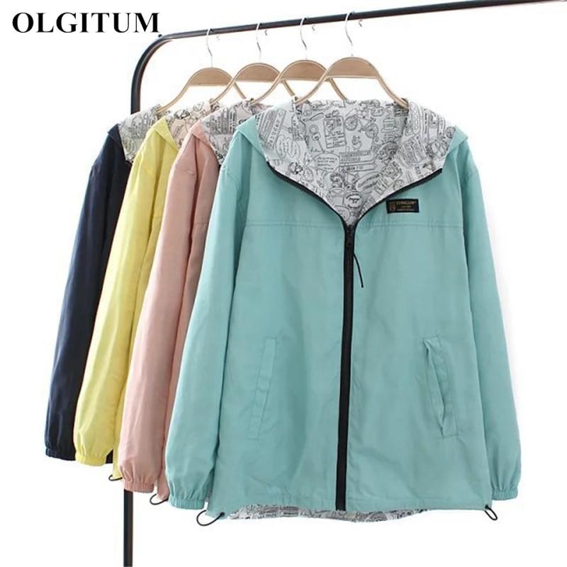 Spring Autumn 2020 Fashion Women Jacket Coat Pocket Zipper Hooded Two Side Wear Cartoon Print Outwear Casual Loose Plus Size