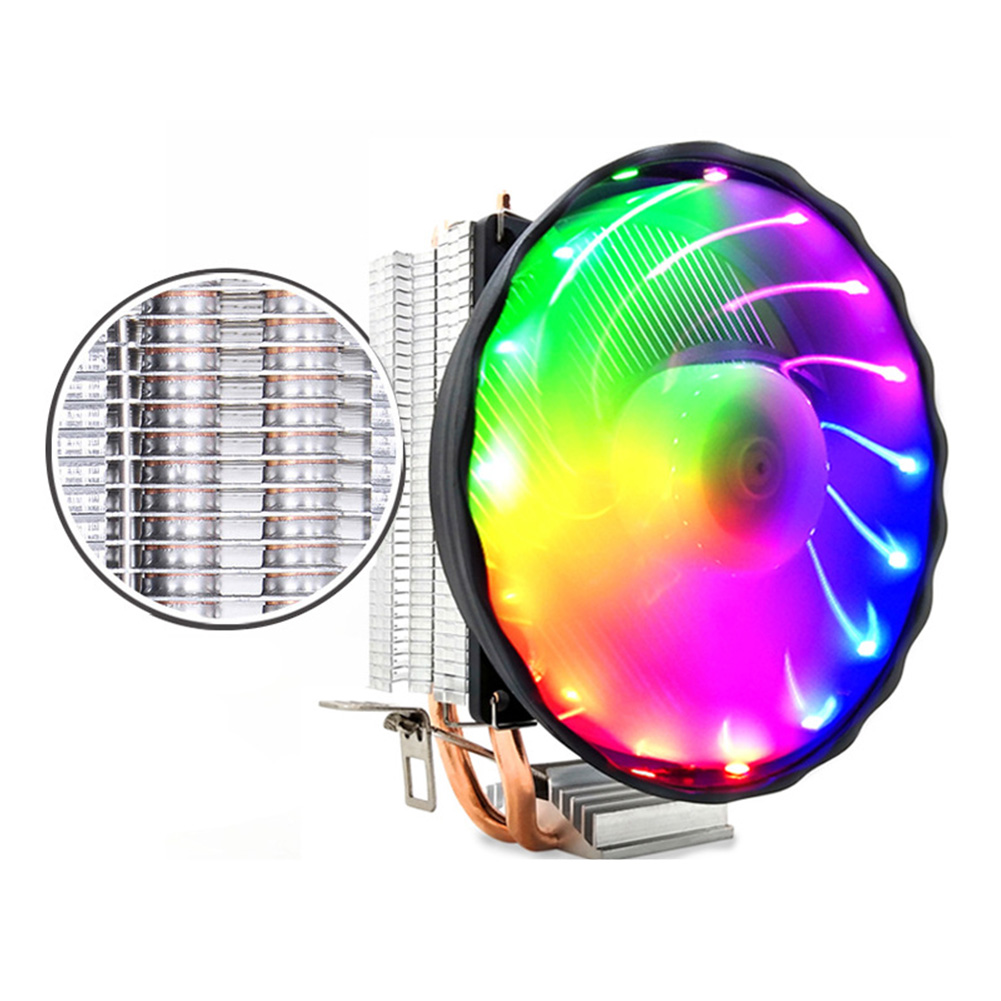Cooling 3 Pin Radiator Desktop Computer Copper 12V Silent <font><b>RGB</b></font> Fan <font><b>CPU</b></font> <font><b>Cooler</b></font>  2 Heatpipes Led Durable For LGA 1155/<font><b>1151</b></font> AMD image
