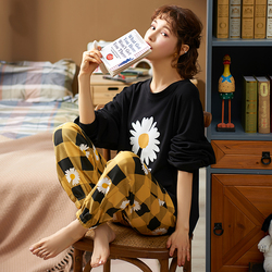 MELIFLE Autumn 100% Cotton Black Pajamas Set for Women Spring Warm Atoff Home Satin Sleepwear Soft Kawaii Silk Lounge Nightwear