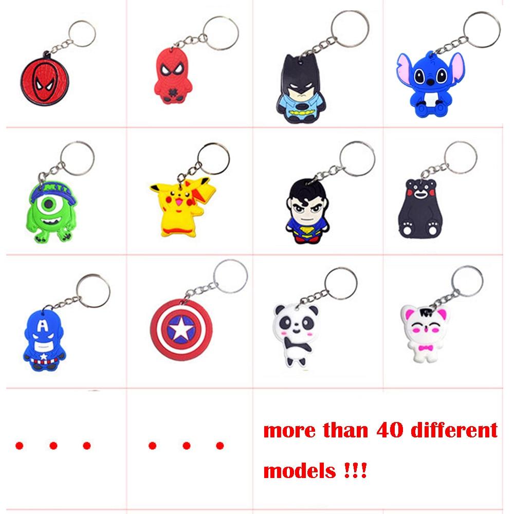 5pcs Wholesale Random Mix Cartoon Figure Hello Cat Keychain Soft Silicone PVC Key Chain Keyring Kids Key Holder Trinket Gift