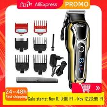 Kemei مقص الشعر المهنية الشعر المتقلب للرجال اللحية الكهربائية القاطع آلة قطع الشعر حلاقة LCD اللاسلكي حبالي 5