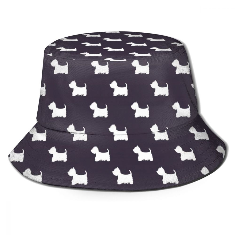 Westie Dog Panama Bucket Hat Men Women Summer Bucket Cap Westie Print Blue Bob Hat Hip Hop Gorros Fishing Fisherman Hat