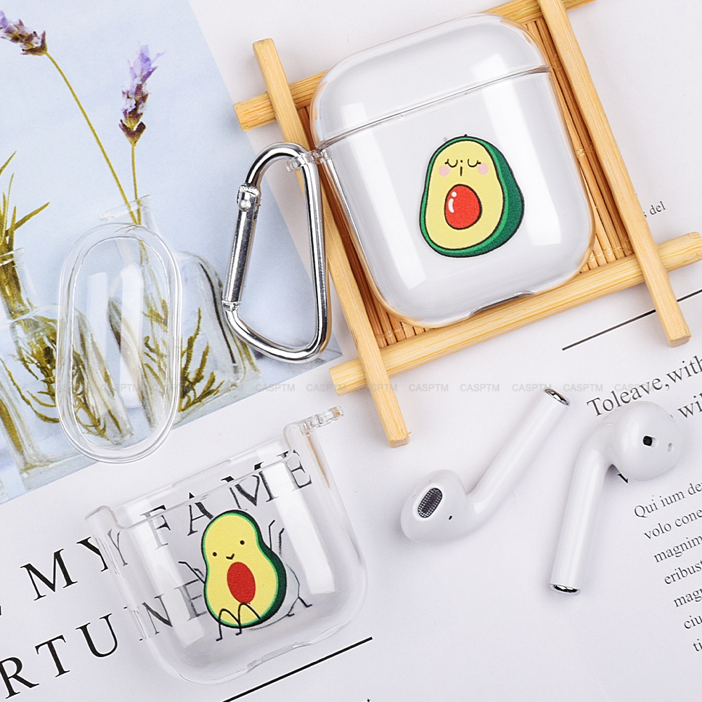 Cute Banana Avocado Earphone Case For Apple AirPods 1 2 Transparent Hard PC Cartoon Protective Headphone Case Cover For Airpods