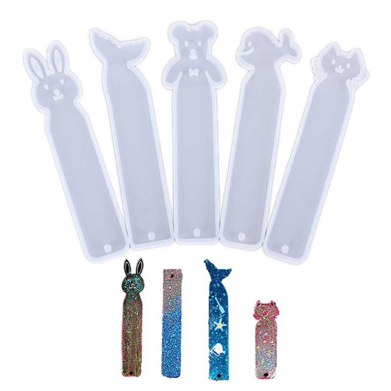 Marcador de libros de resina, molde rectangular de silicona en forma de animales, DIY, fabricación de joyería epoxi