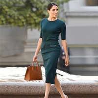 Высококачественная трикотажная стрейчевая юбка Meghan Markle, облегающий топ с коротким рукавом, юбка с разрезом, элегантный темпераментный комп...
