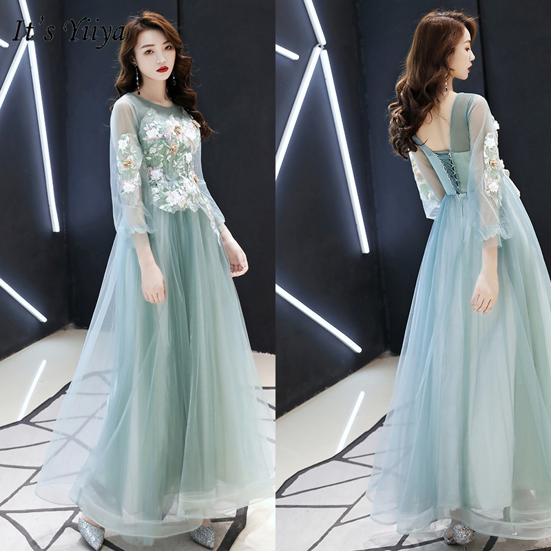 It's Yiiya Evening Dress Elegant Green O-neck Evening Dresses Long Appliques Formal Gowns 2020 Plus Size Robe De Soiree LF159