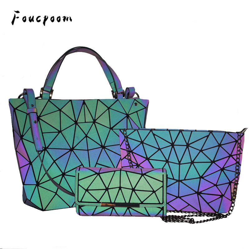 Women Handbags Luxury Shoulder Bag Set Folding Totes Crossbody Bag Female Purse And Handbag For Ladies Luminous Geometric Wallet