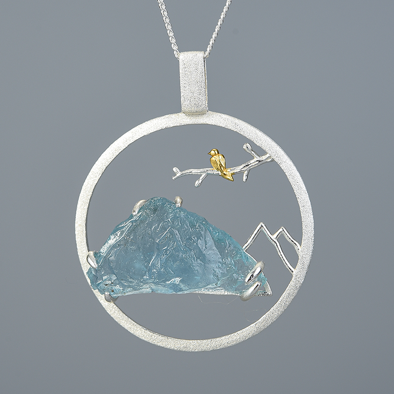 Natural Raw Stone Bird Whisper Pendant without Necklace Real 925 Sterling Silver Creative Handmade Design Fine Jewelry|Pendants| - AliExpress