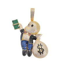 Hip Hop Full CZ Zircon Stone Paved Bling Iced Out US Dollar Cartoon Doll Pendants Necklace for Men Rapper Jewelry(China)