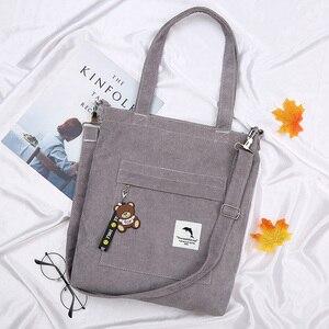Image 3 - 2020 bolsa feminina de veludo com zíper de ombro bolsa de lona de algodão bolsa casual tote feminino crossbody saco das senhoras do vintage