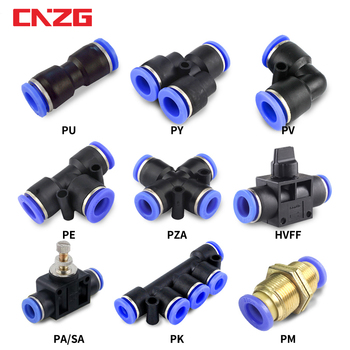 Conector neumático de tubo, accesorios, conectores de tuberías de agua rápidos de aire, manguera de acoplamiento rápido 4mm 6mm 8mm 10mm 12mm PU PY PK