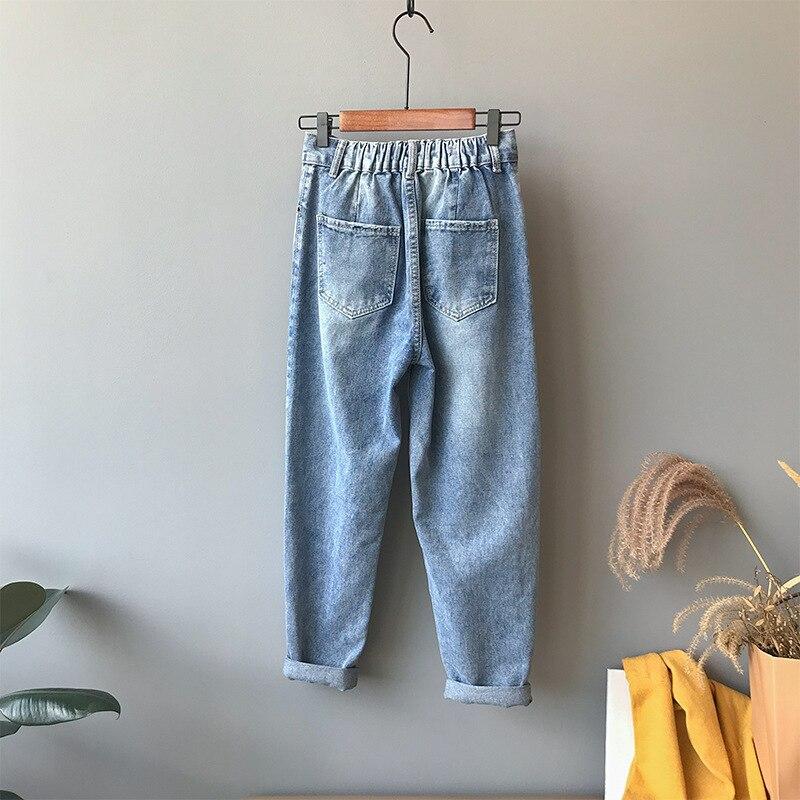 Shikoroleva, женские джинсы размера плюс, 5XL, 4XL, эластичный шнурок на талии, плотные, теплые, флисовые, женские зимние джинсы, брюки, черные, синие - 3