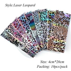 Image 4 - 10 pc imprimé léopard feuille pour ongle Laser transfert curseur autocollant lettre fleur enveloppe dongles décalque 3D décoration conseils manucure LA2001