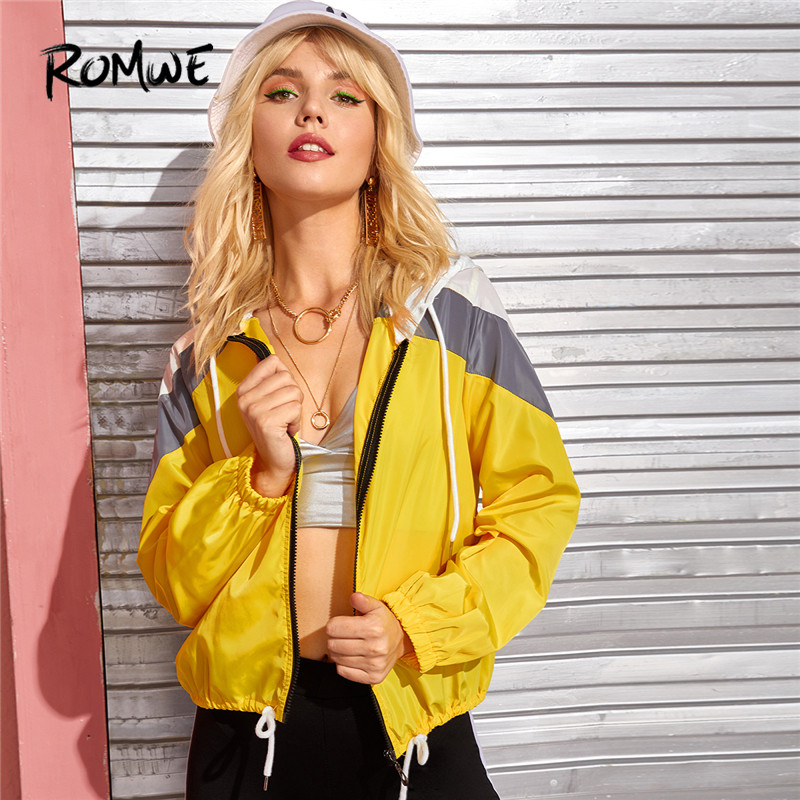 Romwe Cut and Sew Hooded Jacket