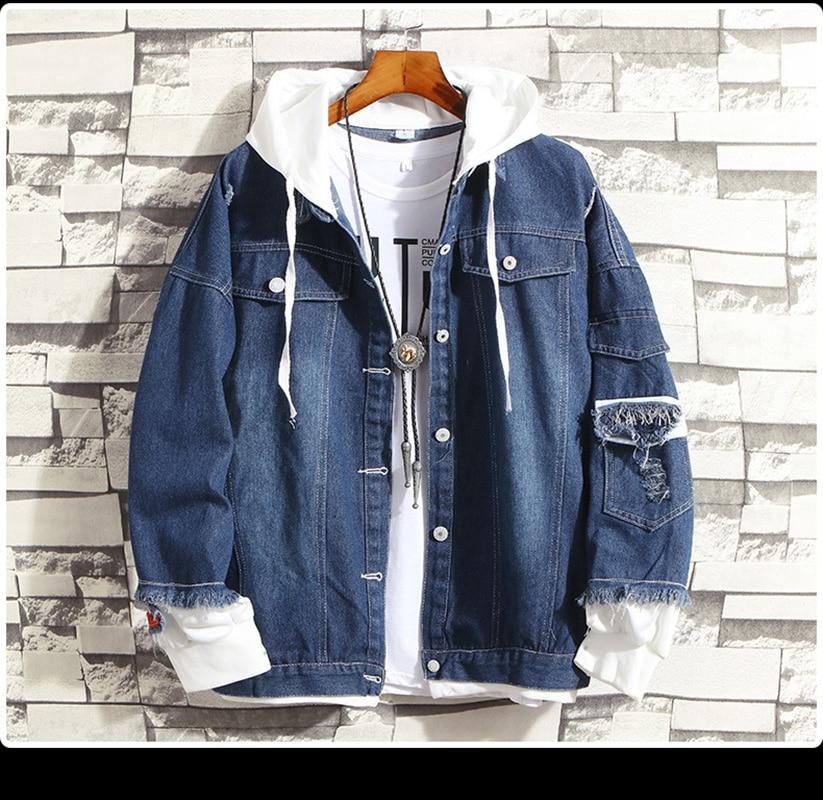 2020 Men's Casual Bomber Jackets Men's Hip Hop Retro Denim Jackets Street Style Men's Fashion Denim Casual Retro Jackets Hoodie