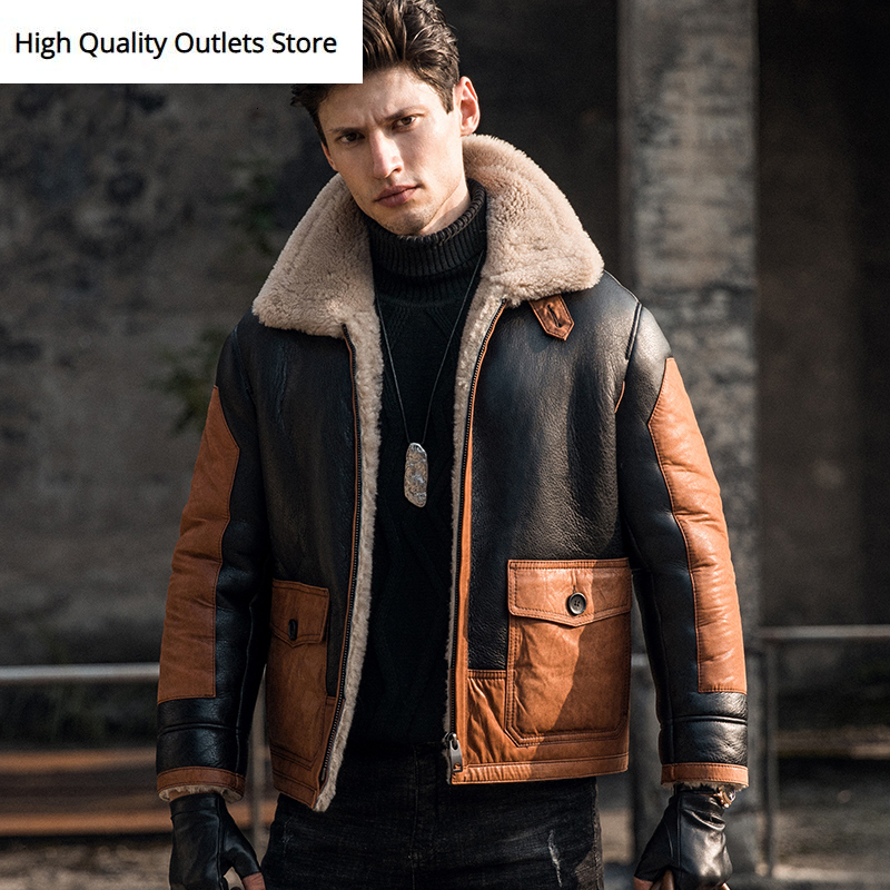 Genuine Leather Jacket Men Sheepskin Coat Original Ecology Shearling Jackets Outerwear
