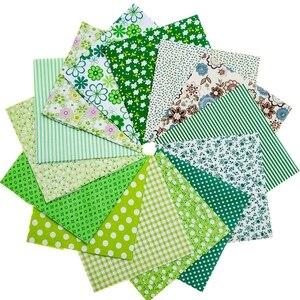 14 шт./лот, 50x50, зеленая хлопковая ткань с принтом, прошитая стеганая ткань, базовое качество для лоскутного шитья, ручная работа