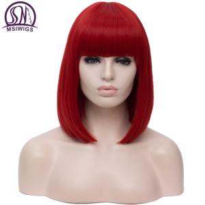 MSIWIGS Synthetic 14 inch Straight Short Bob Wigs Bangs Blue Golden Red Black White Purple Green Brown Cosplay Wig Female(China)