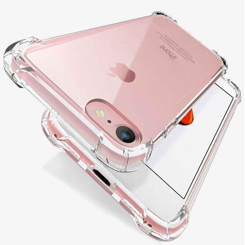 Fashion Shockproof Bumper Transparan Silikon Phone Case untuk iPhone 11 X XS XR X MAX 8 7 6 6S plus Jelas Perlindungan Penutup Belakang