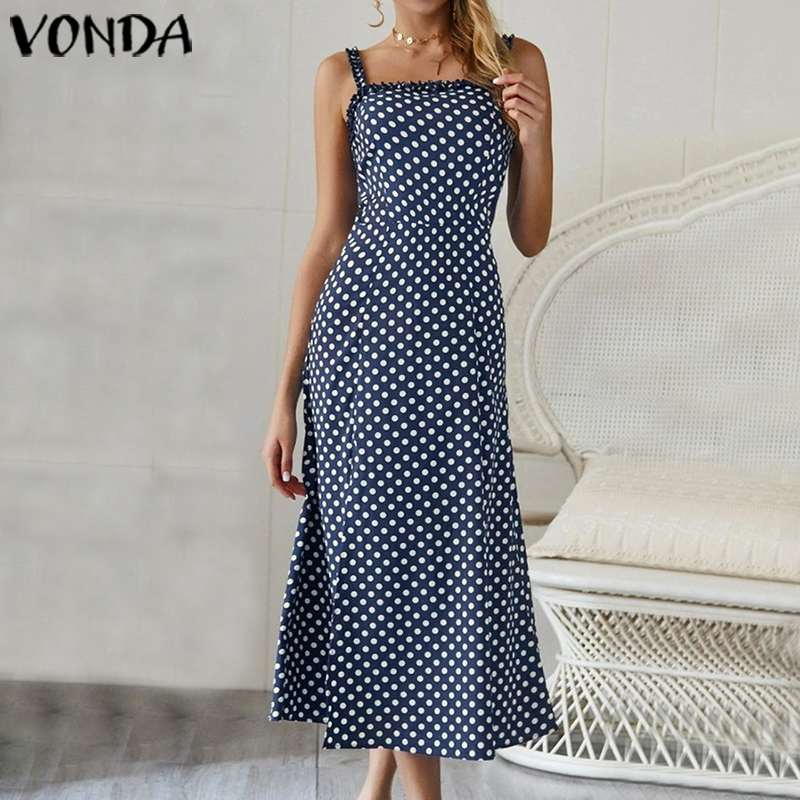 VONDA Summer Dress 2020 Women <font><b>Sexy</b></font> Sleeveless Long Maxi Dresses Plus Size Bohemian Party Vestidos <font><b>Femme</b></font> Beach Sundress <font><b>5XL</b></font> image